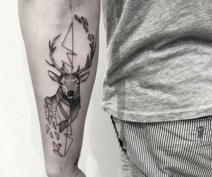 black and white, deer, and tattoo image