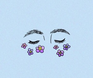 eyes, flowers, and wallpaper image