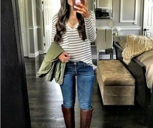 ankle boots, girl, and scarf image