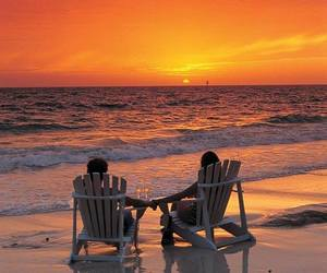 beach, sunset, and couple image