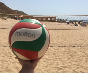 beach, goal, and volleyball image