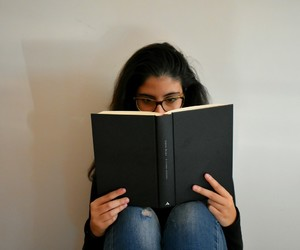 baby, book, and girl image