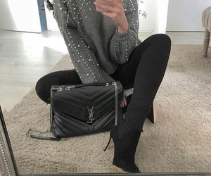 black boots, handbags, and outfits image