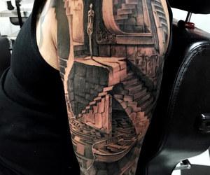 tattoo, 3d tattoo, and labyrinth tattoo image