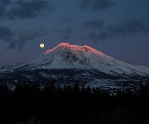 mountains, nature, and moon image