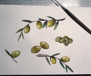art, green, and olive image