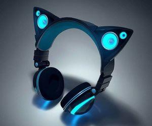 headphones, cat, and blue image