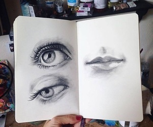 drawing, sketch, and eyes image