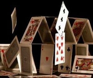 cards, house of cards, and falling image