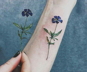 arm, purple, and flowers image