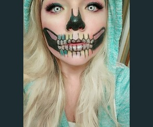 Halloween, halloween makeup, and skeleton makeup image