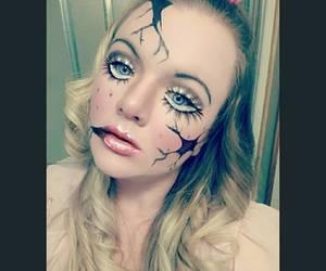Halloween, broken doll, and halloween makeup image