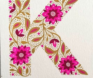 alphabet, flowers, and pink flowers image