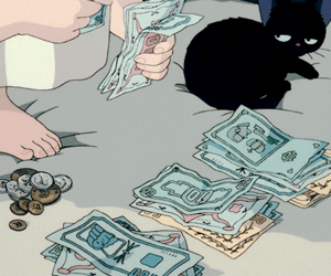 gif, anime, and money image