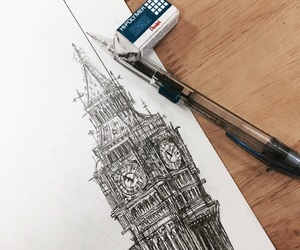 Big Ben, clock, and drawing image