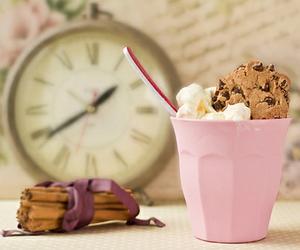 pink, ice cream, and clock image