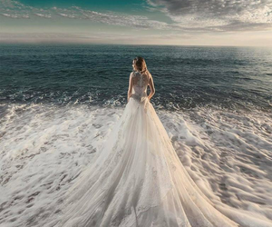 dress, wedding, and sea image