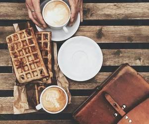 coffee, waffles, and food image