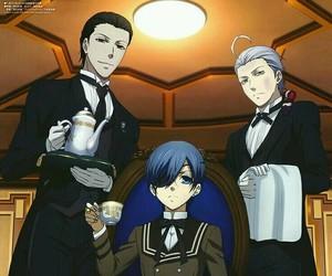 black butler, snake, and sebastian image