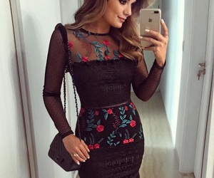 dress, fashion, and black and floral image