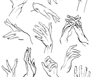 hands, sketch, and art image