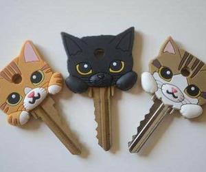 cat, key, and cute image