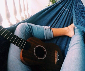 guitar, jeans, and music image