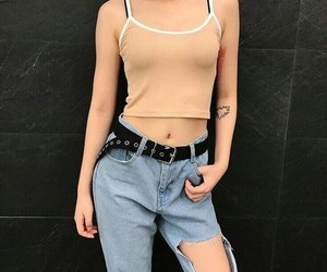 clothes, girl, and ripped jeans image