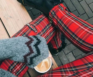 boots, coffee, and fall image