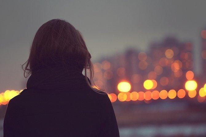 girl, lights, and city image