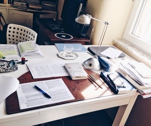 study, book, and desk image