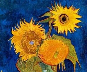 art, beautiful, and sunflowers image