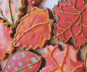 leaves, autumn, and Cookies image
