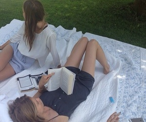 girl, summer, and book image