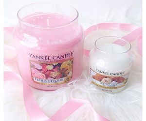 yankee candles, soft blanket, and fres cut roses image
