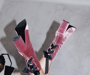 boots, pink, and velvet image