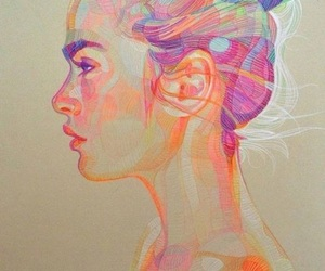 art, drawing, and color pencil drawing image