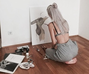 aesthetic, girl, and silver image