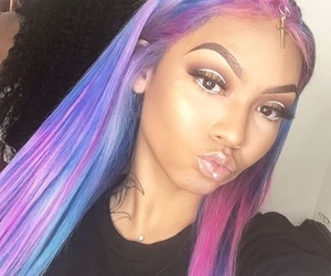 beauty, colorful hair, and eyebrows image