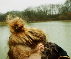 girl, hair, and lake image