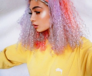 colorful hair, pink hair, and curly hair image