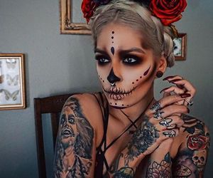 Halloween, makeup, and tattoo image