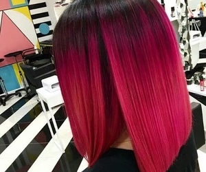 hair, red, and pink image