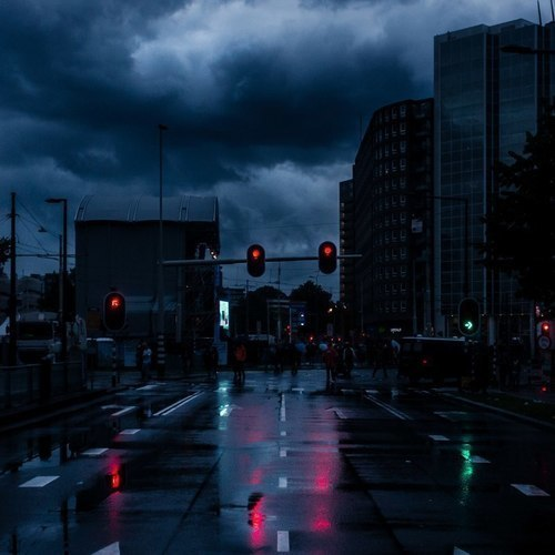 city, clouds, and dark image