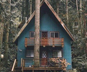 house, forest, and blue image