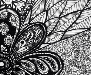 art, black & white, and doodle image