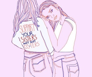drawings, girls, and sisters image