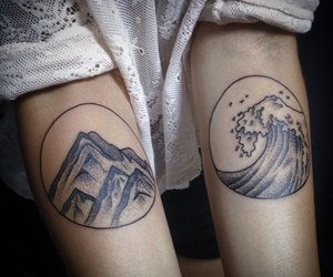wave, nature, and tattoo image