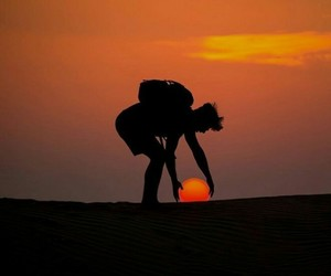 sun, sunset, and orange image