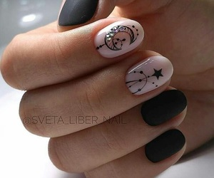 black nails, manicure, and moon image